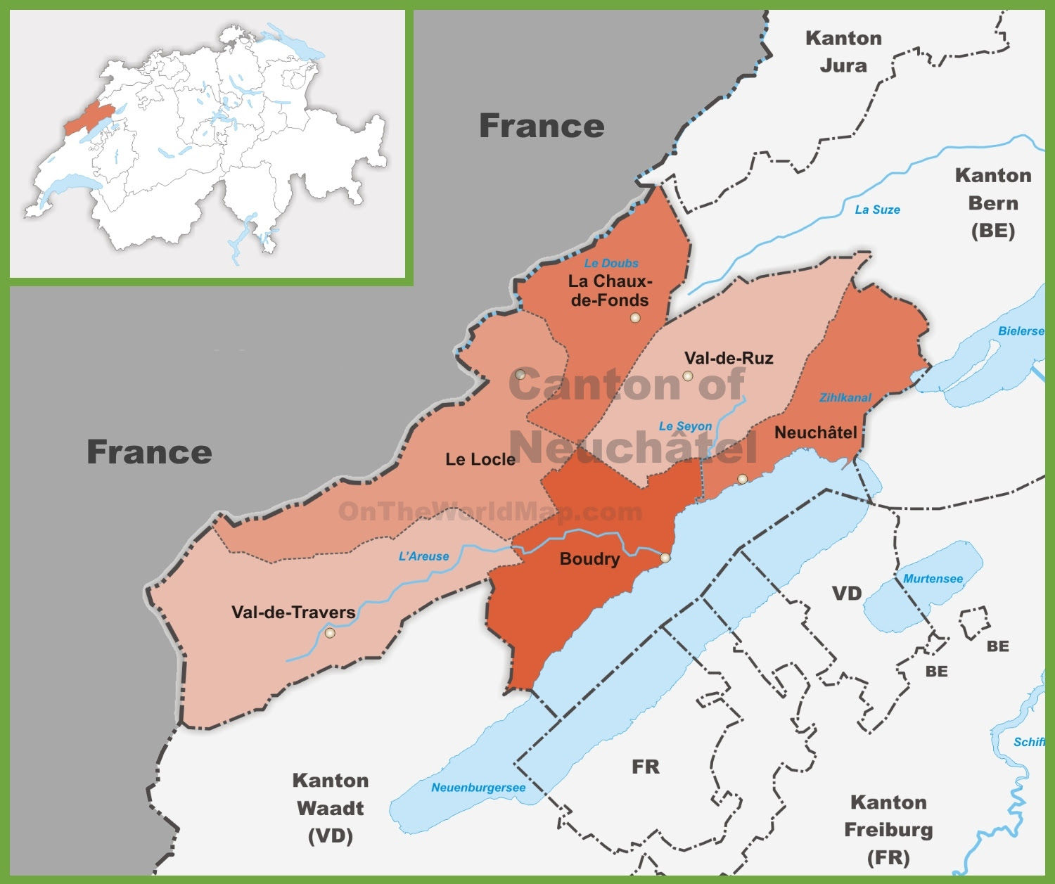canton of neuchatel district map