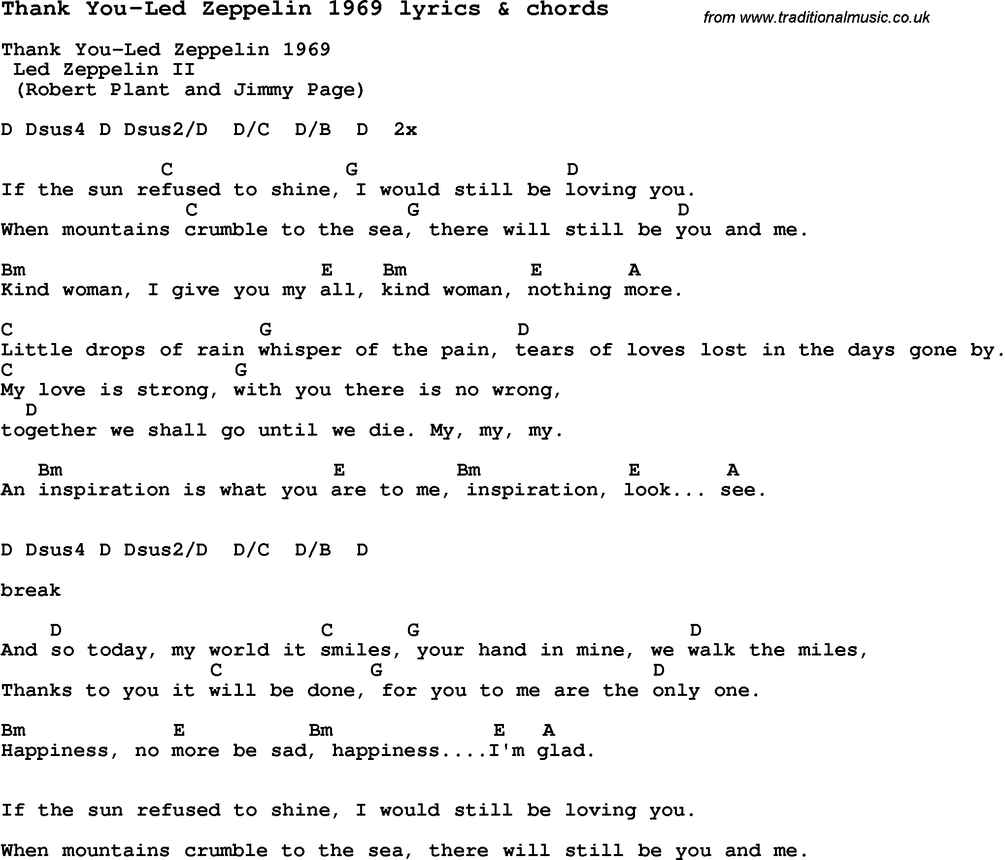 Love Song Lyrics For Thank You Led Zeppelin 1969 With Chords
