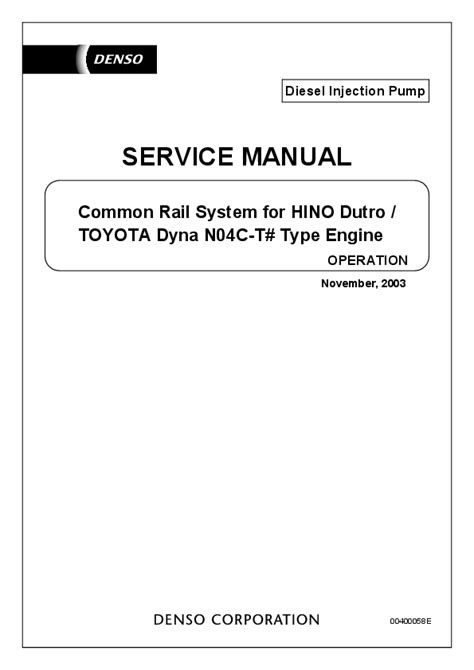 (PDF) Common Rail System for HINO Dutro / SERVICE MANUAL