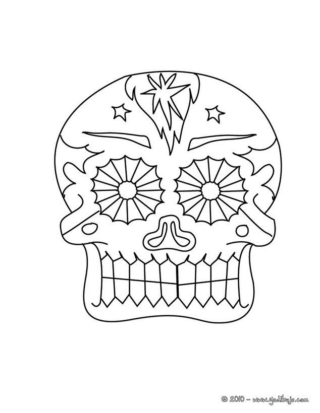 Dibujos Para Colorear Una Calavera Decorada Del Dia De Los Muertos