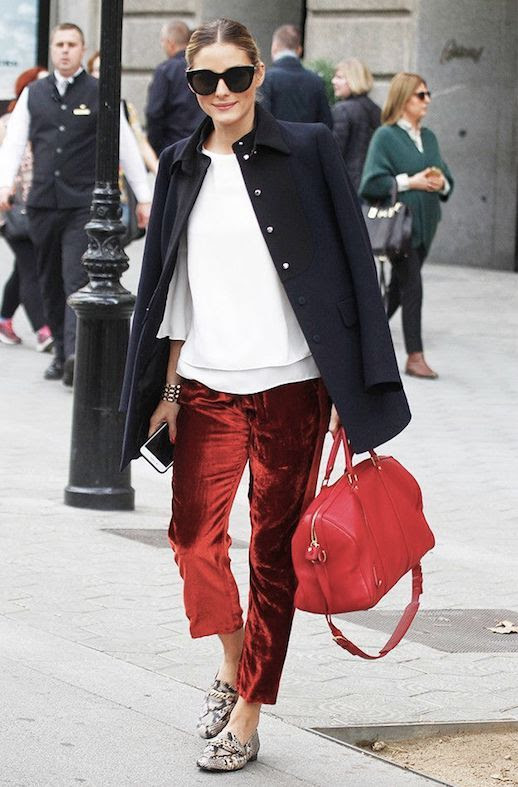 Le Fashion Blog Olivia Palermo Black Sunglasses Black Overcoat White Blouse Red Velvet Pants Snakeskin Loafers Via Harpers Bazaar