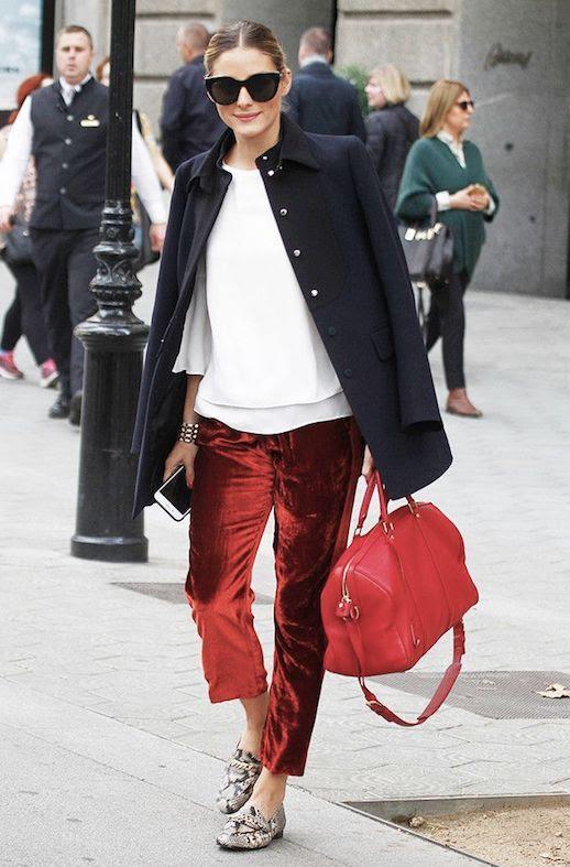 Le Fashion Blog Olivia Palermo Black Sunglasses Black Overcoat White Blouse Red Velvet Pants Snakeskin Loafers Via Harpers Bazaar