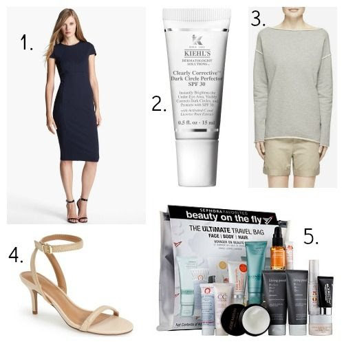 Felicity and Coco Dress - Kiehl's Eye Protector - Rag and Bone Tunic - Report Signature Sandals - Sephora Travel Kit