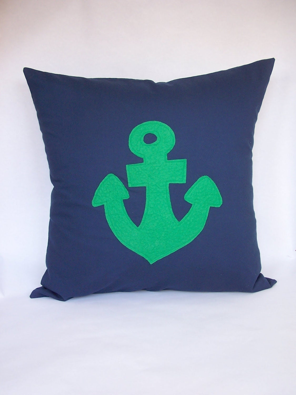 Emerald Green  Anchor Pillow