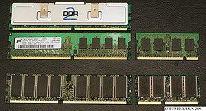 English: RAM memory modules. TOP L-R, DDR2 wit...
