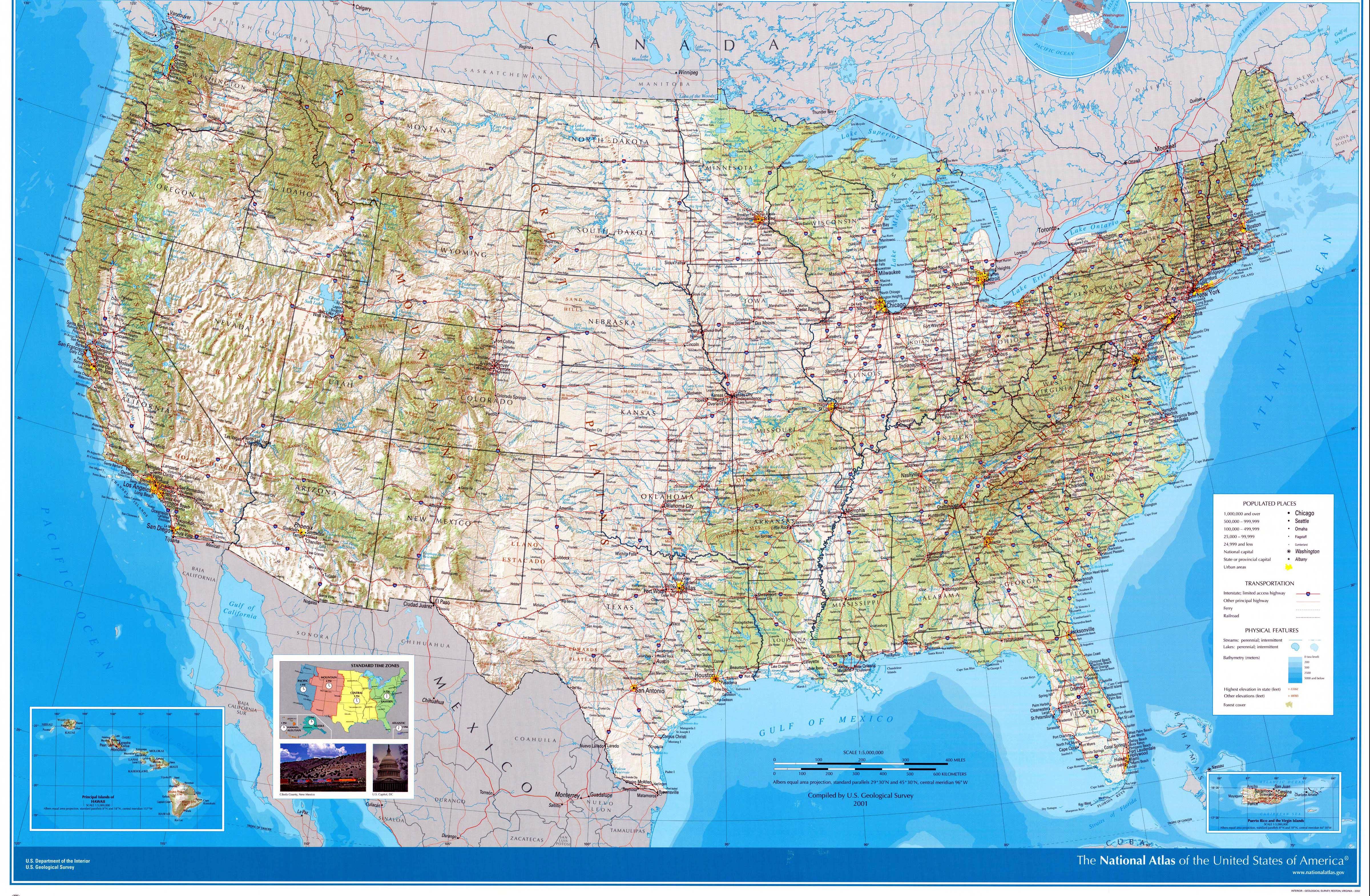 Cartes De Etats Unis Cartes Typographiques Détaillées Des