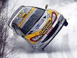 Juuso Pykälistö (FIN) in his Peugeot 206 WRC d...