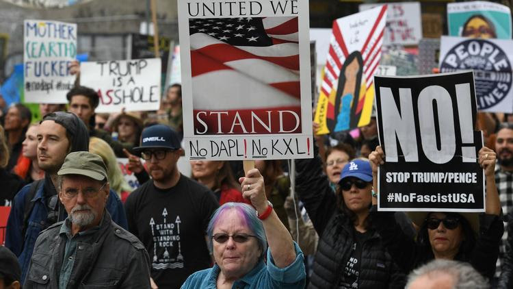 Protesters demonstrate against the Dakota Access oil pipeline