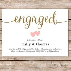 Printable Engagement Invitation Gold Foil / Editable Template ...