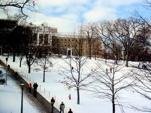 Skiing on Bascom Mall