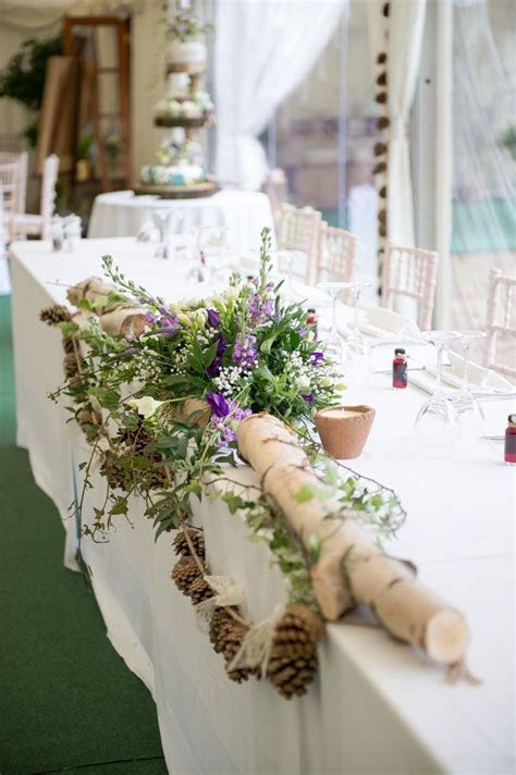 Top Table Flowers Log Green Purple Rustic Woodland Glade
