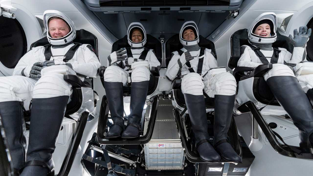 From left, Chris Sembroski, Sian Proctor, Jared Isaacman and Hayley Arceneaux sit in the Dragon capsule at Cape Canaveral in Florida, during a dress rehearsal for the upcoming launch.