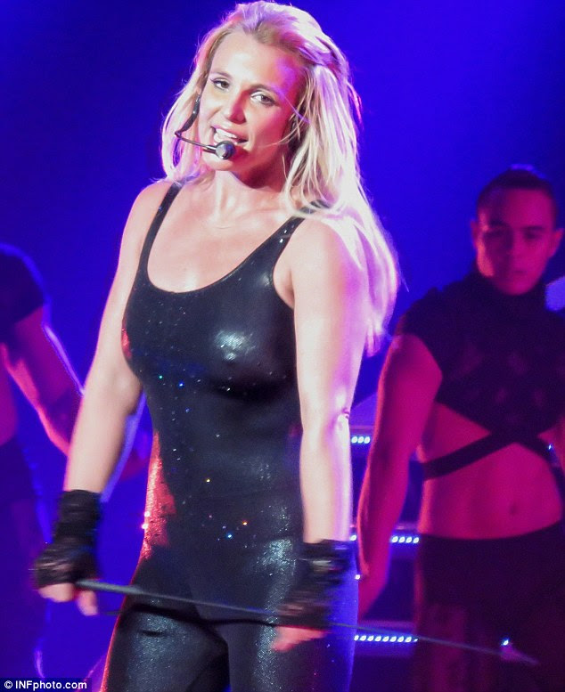 Not aware: The mother-of-two kept her focus completely on her showstrutting her stuff in a black leather costume (pictured wearing a similar costume on February 21)