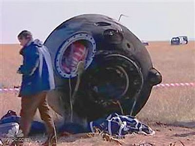 Pouso Soyuz no deserto do Cazaquistão