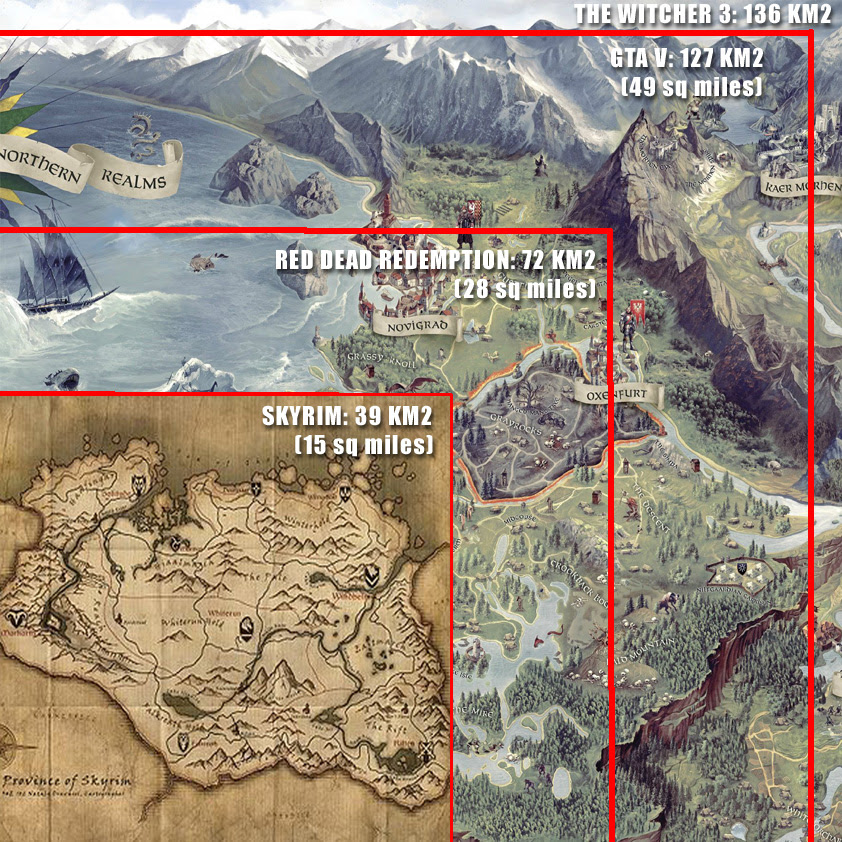 Breath Of The Wild Map Size Compared To Skyrim World Map Atlas
