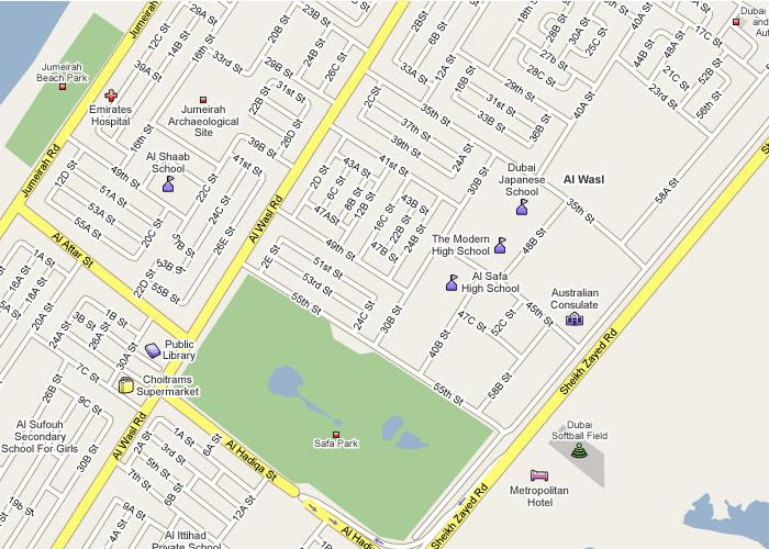 Detail Al Safa Park Dubai Location Map for Visitor,Location Map of Al Safa Park Dubai, Al Safa Park Accommodation Hotels Map