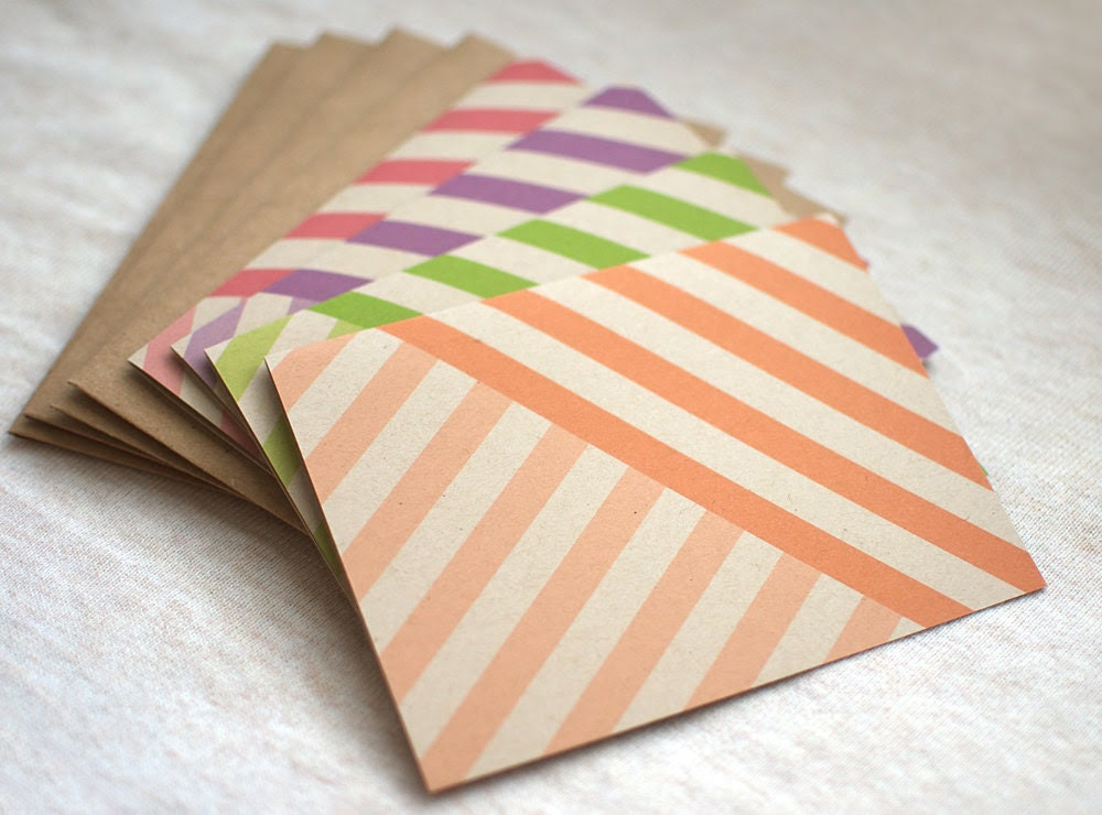 Striped Card Set of 4 - Eco Friendly, Blank Note Cards