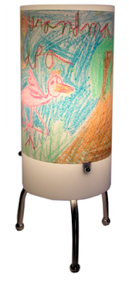 lamp which displays kids art