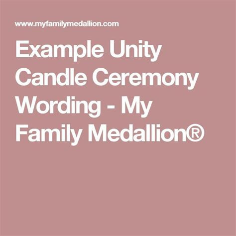 Example Unity Candle Ceremony Wording   My Family