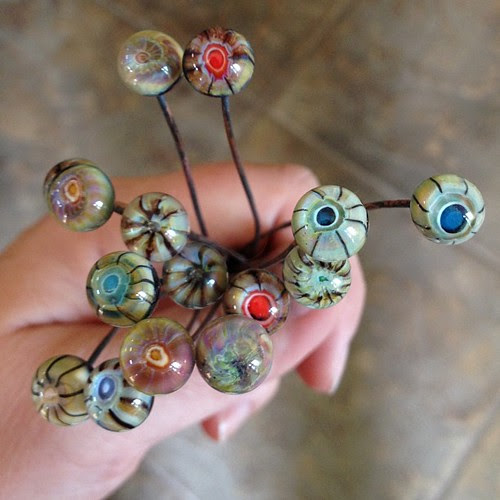 Headpins I made a week ago that still need to be pickled. #lampwork #glassaddictions