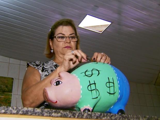 Servidora começou a guardar moedas quando ganhou um porco gigante da amiga, poços de caldas (Foto: Marcelo Rodrigues/EPTV)