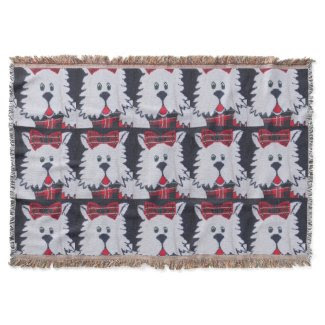 plaid scottish terrier puppy dog throw blanket