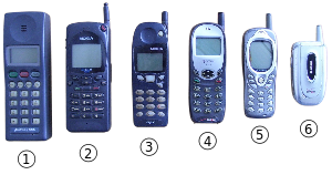 Various cellular phones from the last decade