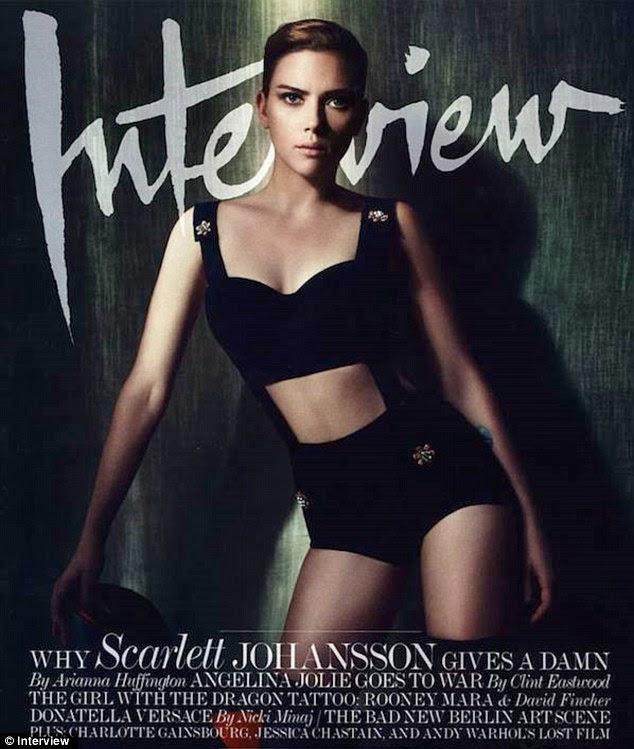 Slimline: A famosa voluptuosa Scarlett Johansson parece mais magro na capa da última edição da revista Interview