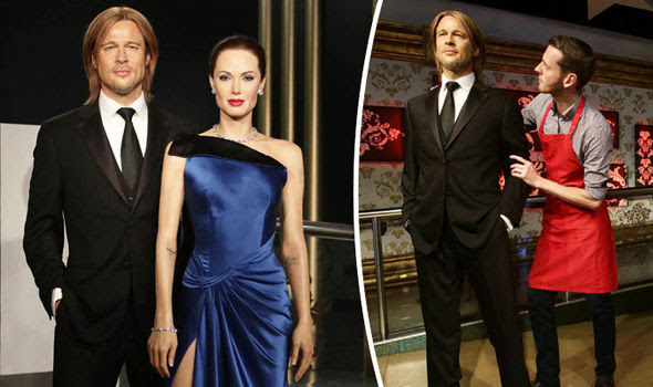 Image result for Madame Tussauds separate Brad and Angelina waxworks after divorce news.
