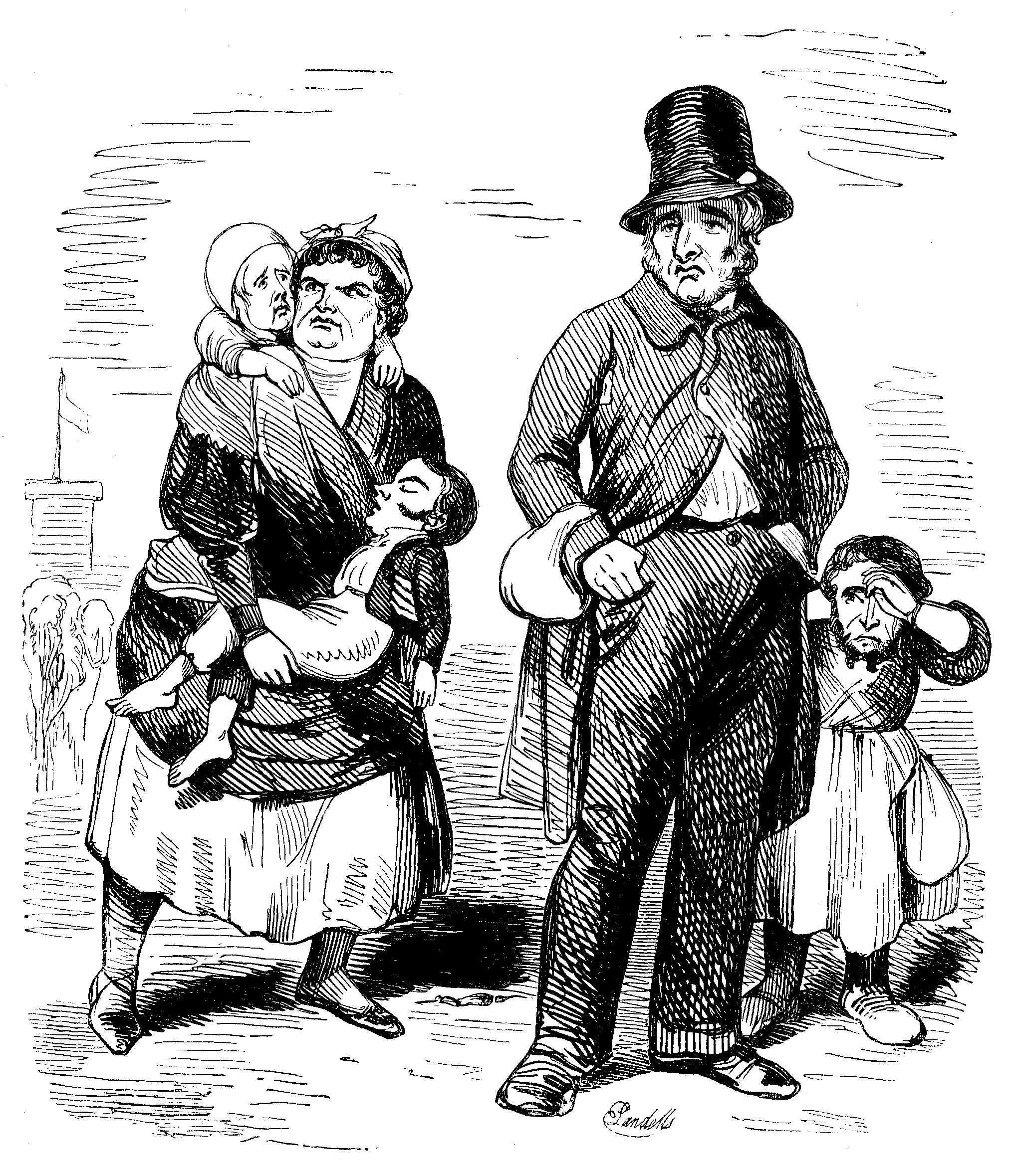 A poor family with three small children.