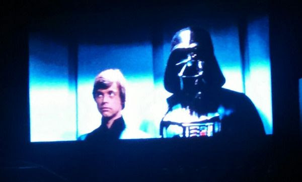 Darth Vader and Luke Skywalker arrive at the Emperor's throne room aboard the second Death Star in RETURN OF THE JEDI...during a viewing of the movie on December 13, 2015.