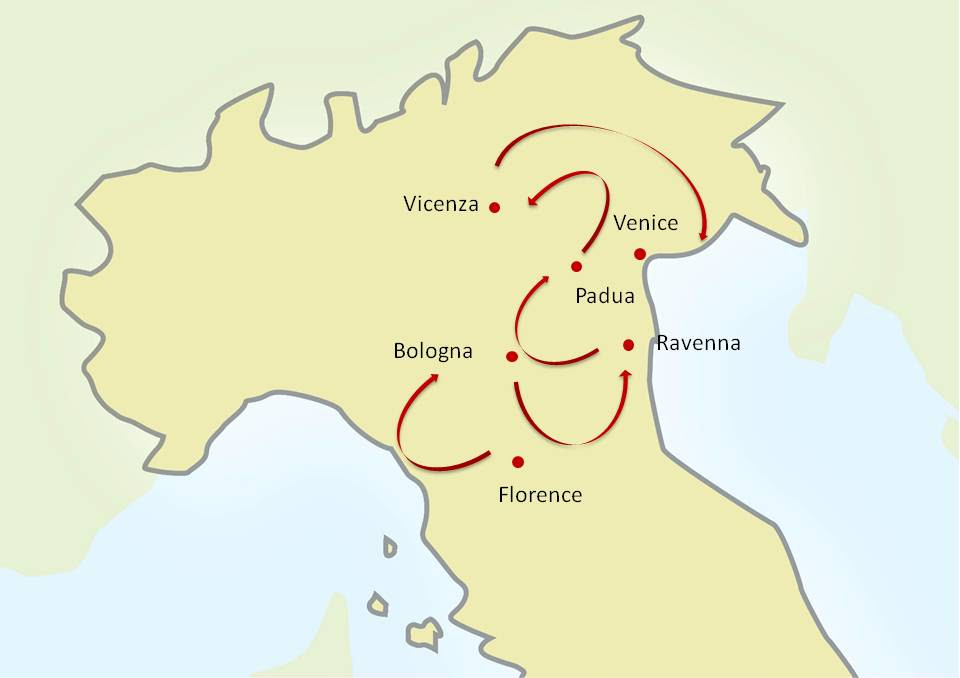 Florence Bologna Italy Map