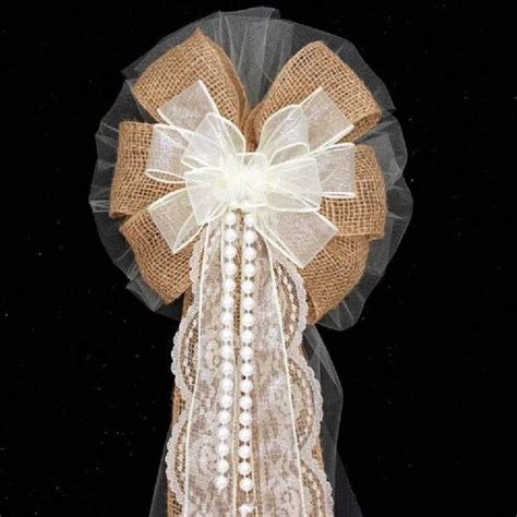 Burlap and Lace Pearls Ivory Rustic Wedding Pew Bows