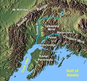English: South Central Alaska showing Matanusk...
