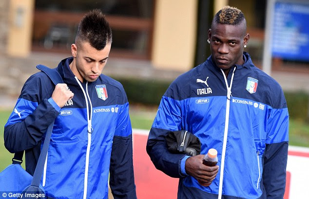 Balotelli (right) pictured alongside Stephan El Shaarawy (left) at the latest Italian training camp