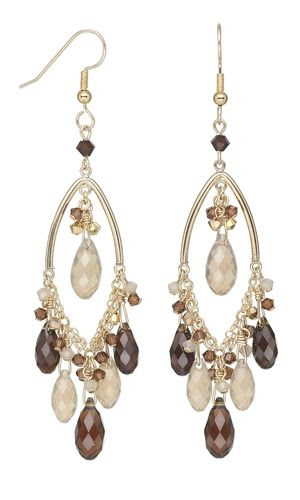 Earrings with Swarovski® Crystal Drops and Beads and Gold-Filled Drops