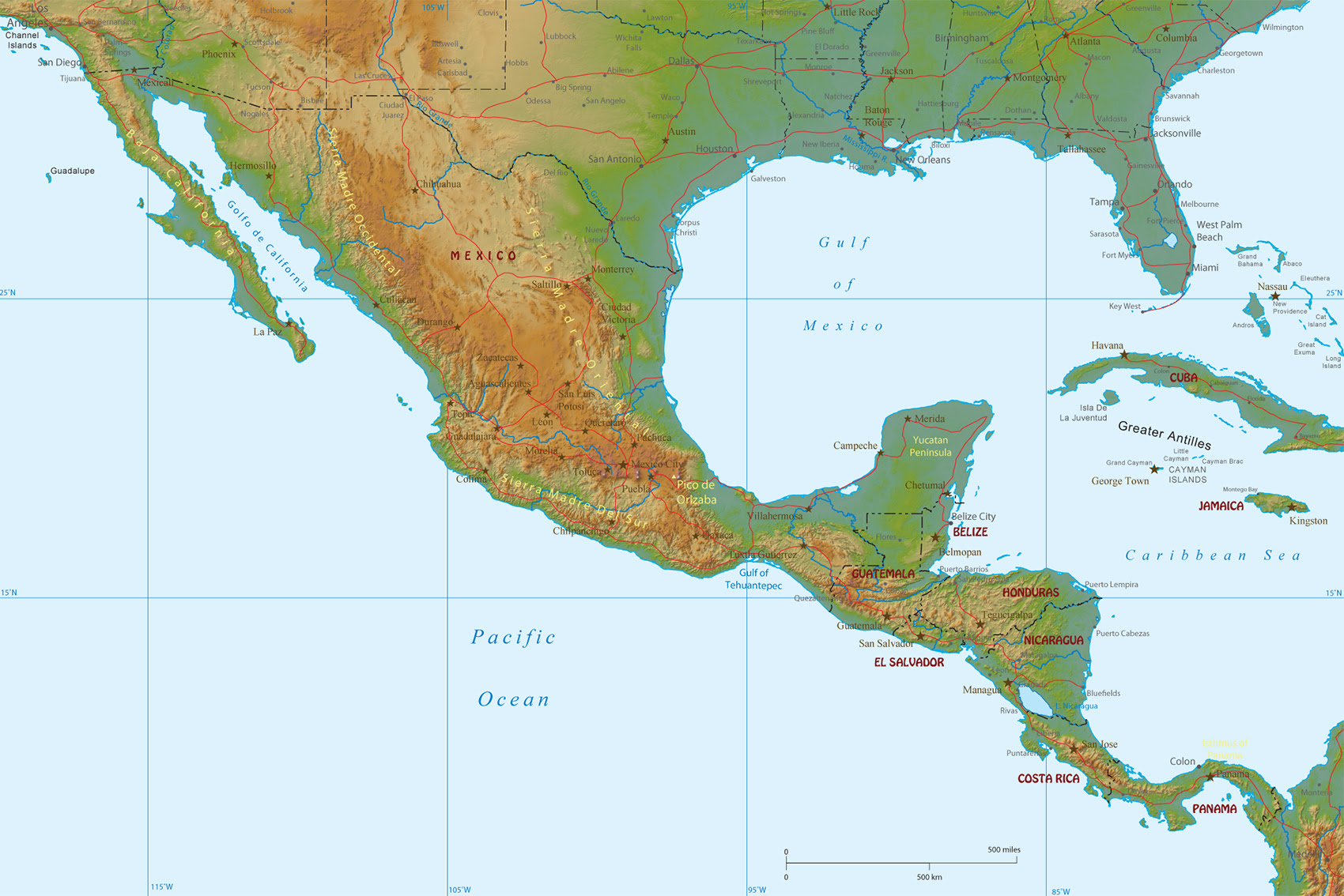 Picture of: Mexico Central America And Caribbean Map