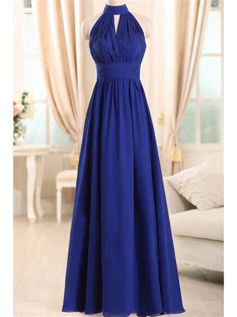 Long Blue Chiffon Wedding Guest Dresses Bridesmaid Dresses