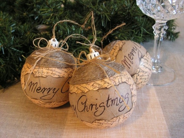 rustic Christmas decoration ideas easy to craft tree ornaments