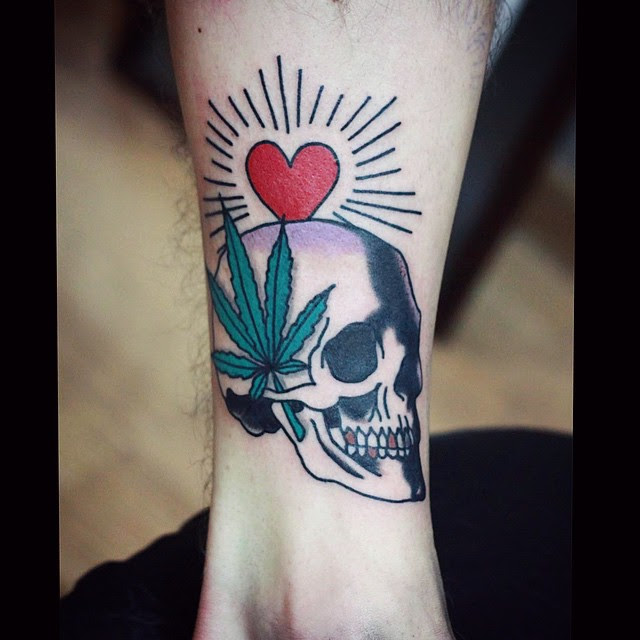 Skull Canabis Wrist Tattoo Best Tattoo Ideas Gallery