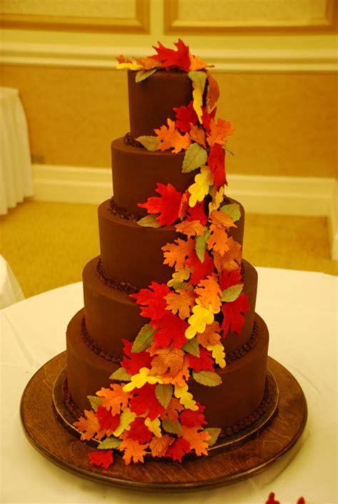 Ganache 5 Tier Fall Leaves Wedding Cake   CakeCentral.com