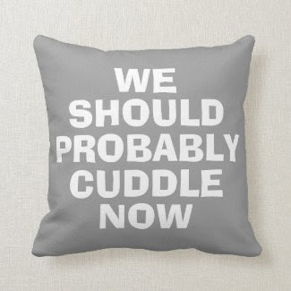 We should probably cuddle now funny pillow