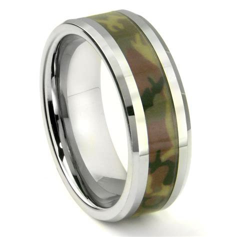 Tungsten Carbide MILITARY US WOODLAND CAMOUFLAGE Wedding Ring