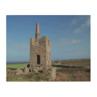 Cornish Tin Mine Engine House Cornwall Photograph Wood Prints