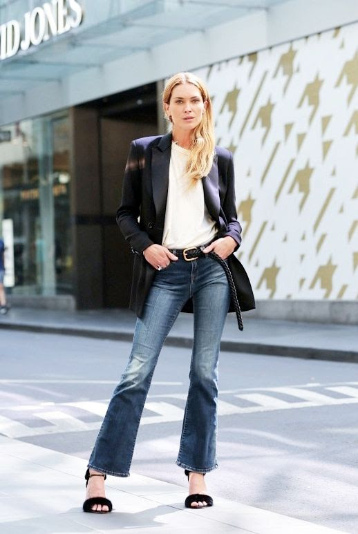 Le Fashion Blog Model Style Erin Wasson Black Tuxedo Blazer White Tee Braided Belt Cropped Denim Flares Furry Heeled Sandals Via Vogue Australia