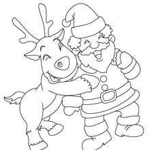 Dibujos Para Colorear Santa Claus Con El Reno Rodolfo Eshellokidscom