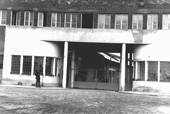 Entrance to Oskar Schindler's enamel works in Zablocie, a suburb of Krakow. Poland, 1939-1944.