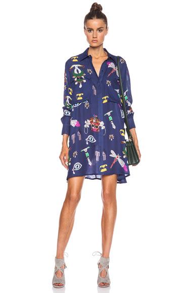 Mary Katrantzou|Oriane Blouse Dress in Symbol Navy [1]