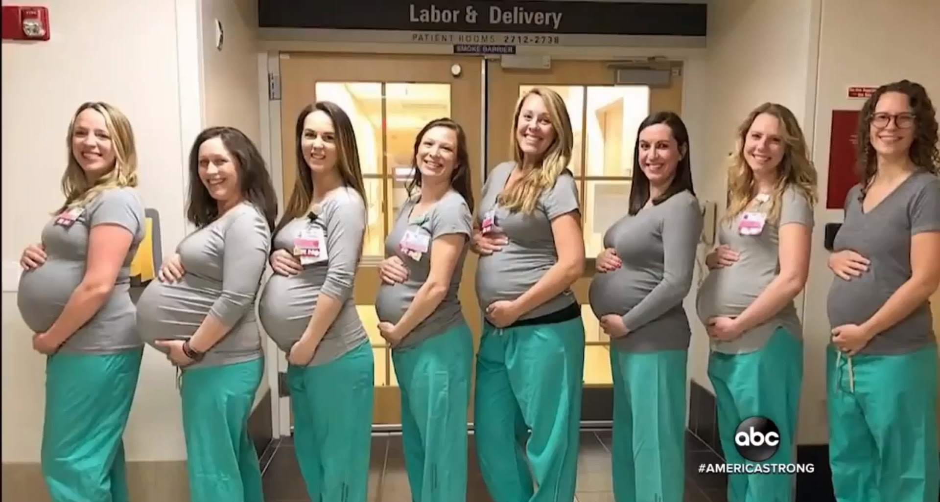 Eight of the nine expectant nurses. Credit: ABC News