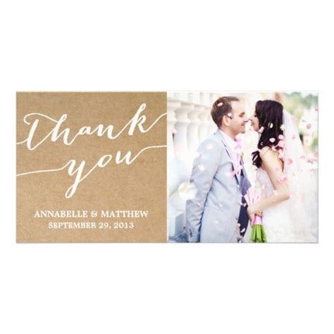 Modern calligraphy   wedding thank you photo card